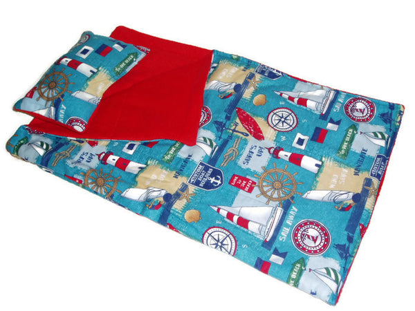Lighthouses, sailboats, Nautical print on this doll Sleeping bag, fits both girl and boy American Girl dolls.