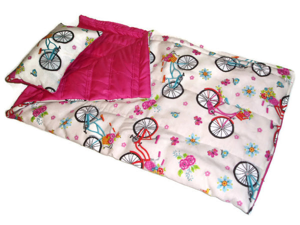 Bicycle rides themed doll sleeping bag, fits American girl dolls.