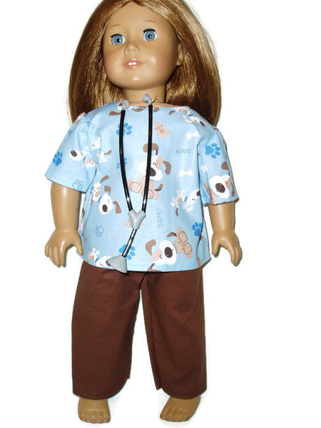 Puppy Vet Scrubs with Stethoscope doll clothes fits American girl dolls.