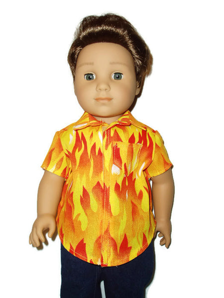 "Fire flames boy shirt fits 18"" American girl boy dolls."