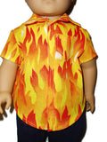 "Fire flames boy doll shirt fits 18"" American girl boy dolls."