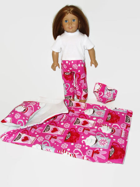 Matching pajamas and sleeping bag in a Valentine Hot Chocolate print that fits American Girl dolls.