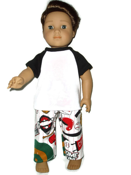 Baseball pajamas doll clothes fits American girl boy dolls.