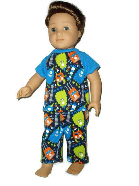 "18"" boy doll clothes Monster pajamas.  Fits American girl boy dolls."