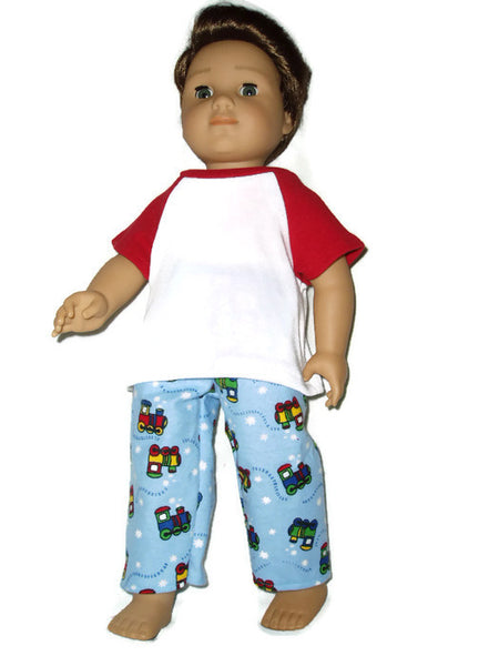 Train pajamas doll clothes fits American Girl Boy dolls.