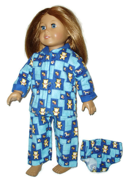3 pc Teddy Bear Pajama doll clothes set that fits American Girl dolls.