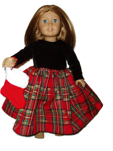 Red plaid Christmas dress doll clothes fits American girl dolls.