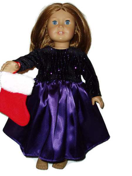 Purple Christmas dress with stocking fits American Girl dolls.