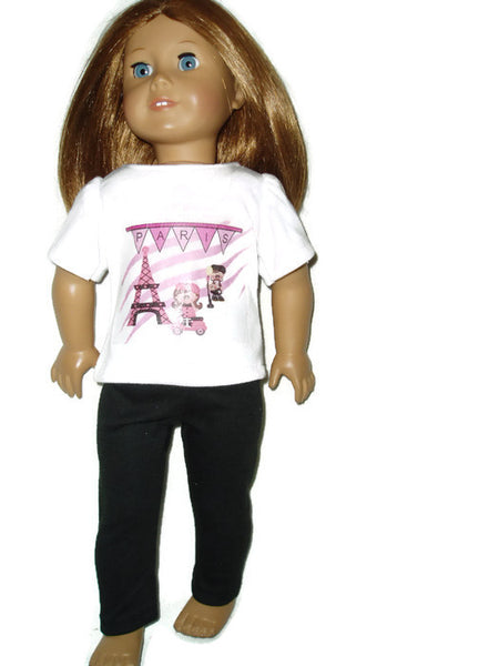 "Paris t-shirt and black leggings 18"" doll clothes fits American girl dolls."
