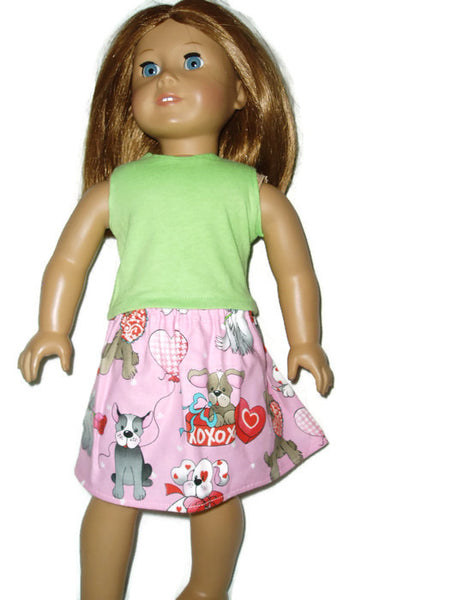 Valentine puppy love skirt and top fits American girl dolls.