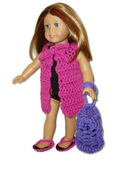 Swimsuit Cover-up, Sandals, and Beach Bag PDF Crochet Pattern Doll Clothes fits American girl dolls Instant Download