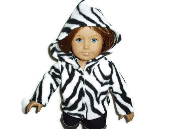 Black and white zebra print doll clothes hoodie fits American girl dolls.