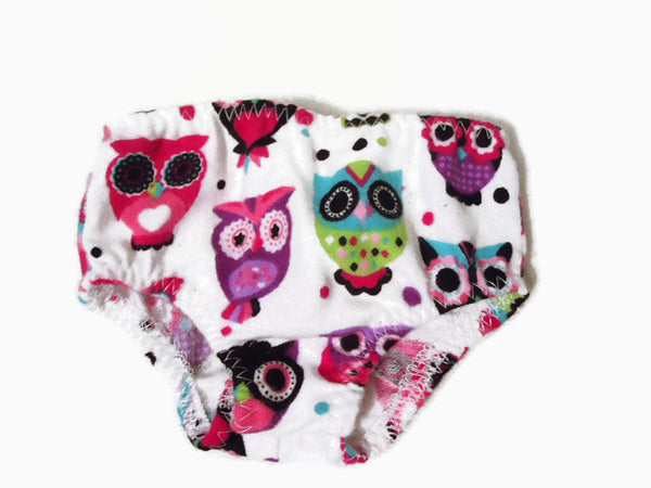 Colorful owls, flannel underwear doll clothes that fits American girl dolls.