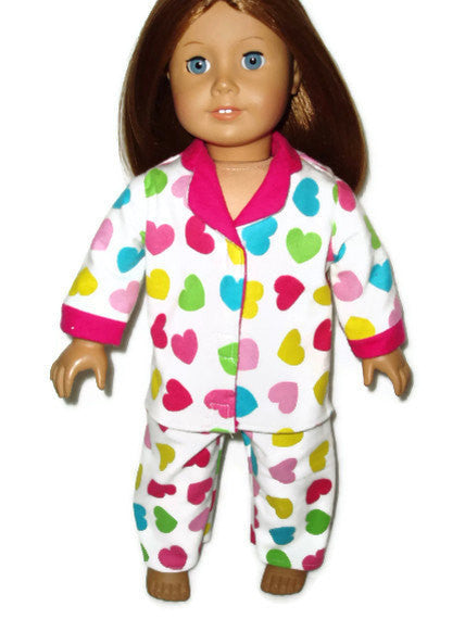 Colorful hearts pajamas doll clothes fits American girl dolls.