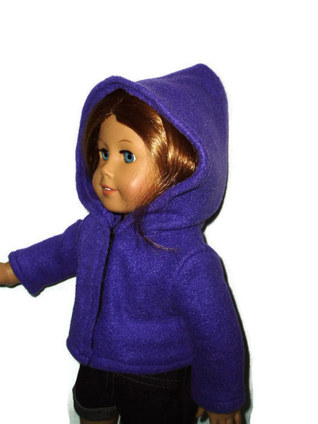 Dark purple doll clothes hoodie fits American girl dolls.