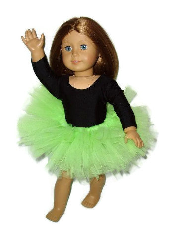 Neon Green ballet tutu doll clothes fits American girl dolls.