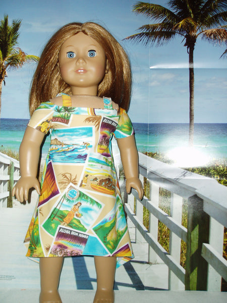 Hawaiian fashion dress fits American girl dolls.
