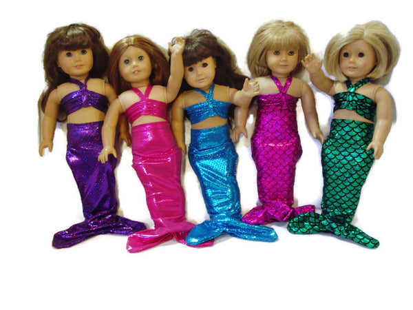 "Mermaid Outfit 18"" Doll Clothes that fits American girl dolls. Available in 5 colors."