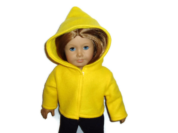 "Bright Yellow, fleece 18"" doll clothes that fits American girl dolls."