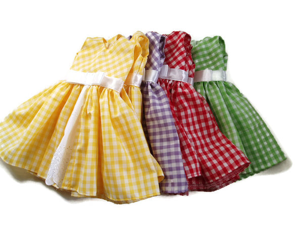 Springtime gingham doll clothes dresses fits American girl dolls.