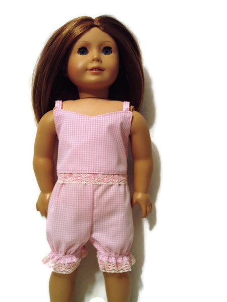 Pink and white gingham print pajamas fits American girl dolls.