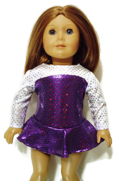 Purple and Silver Ice Skating outfit fits American girl dolls.