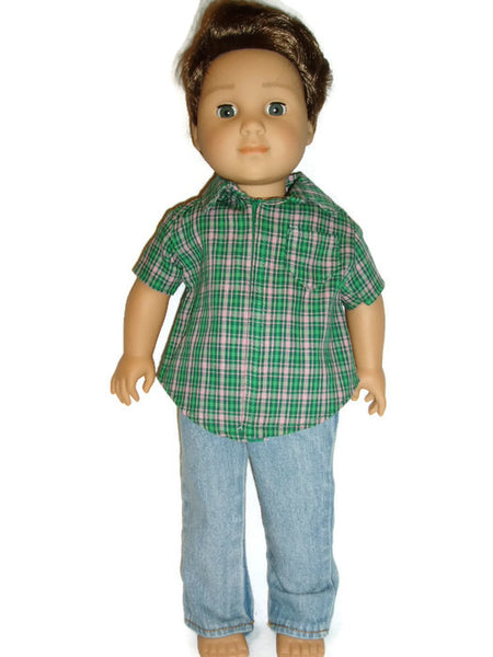 "Shirt and jeans for 18"" boy dolls.  Fits American girl boy dolls."