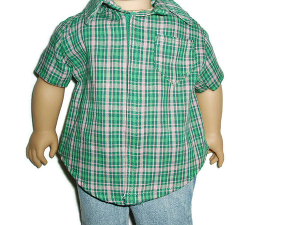 Green and pink plaid shirt doll clothes fits American girl boy dolls.