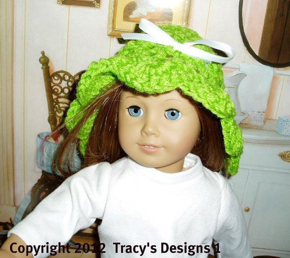 Crochet pattern of Summer Cloche Hat fits American girl dolls.