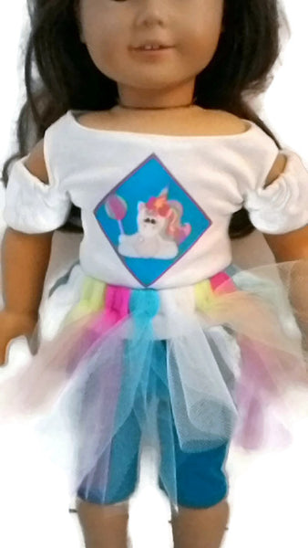 "3 piece Unicorn outfit: Unicorn t-shirt, leggings and tutu.  18"" doll clothes fits American girl dolls."