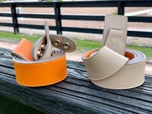 Reversible Orange and Taupe Leather Belt