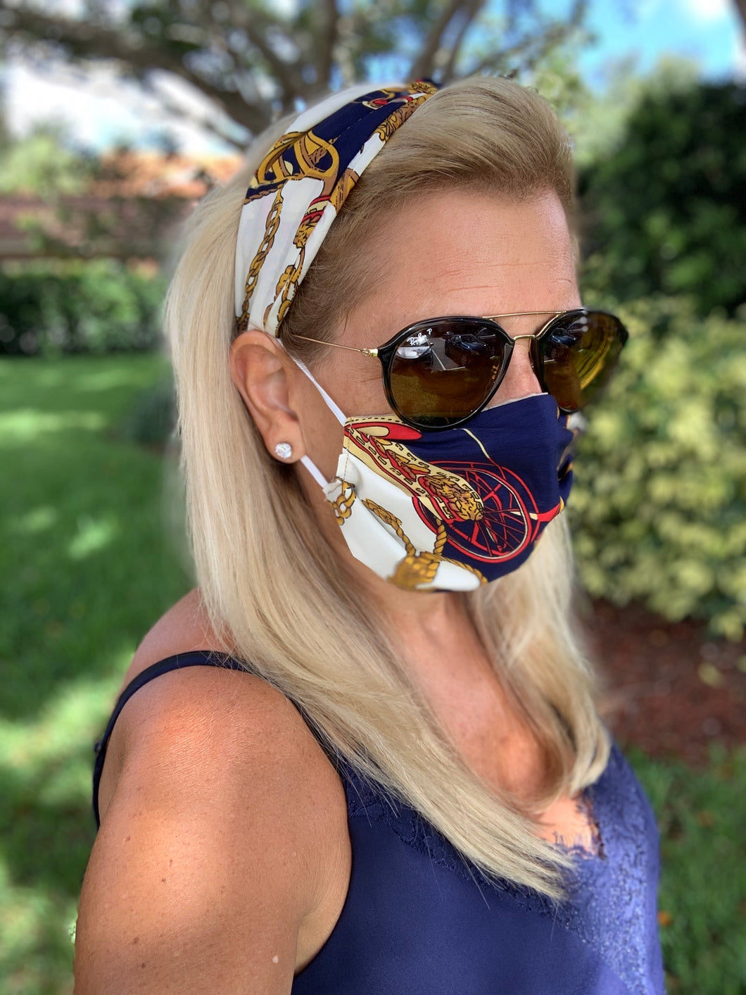 Headband Face Mask Combo/ Navy Scarf
