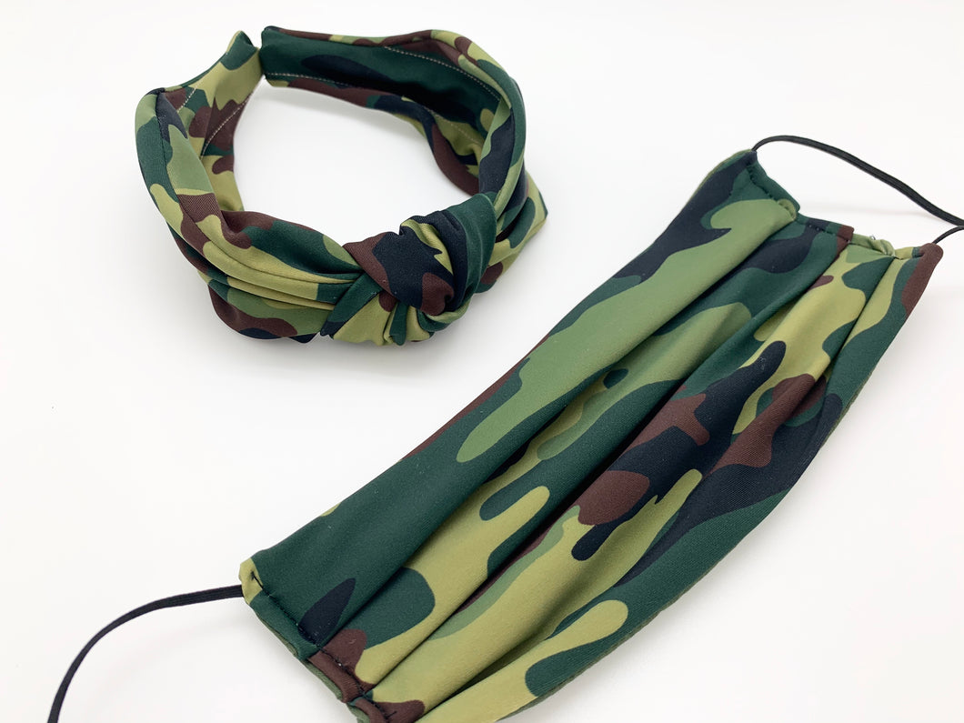Headband Face Mask Combo / Camo Green