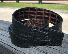 Reversible Black and Brown Embossed Leather Belt