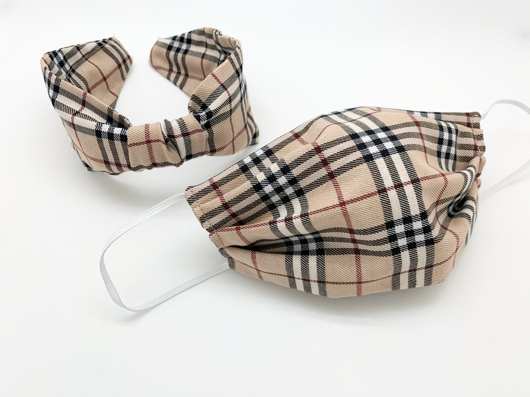 Headband Face Mask Combo / Beige Plaid