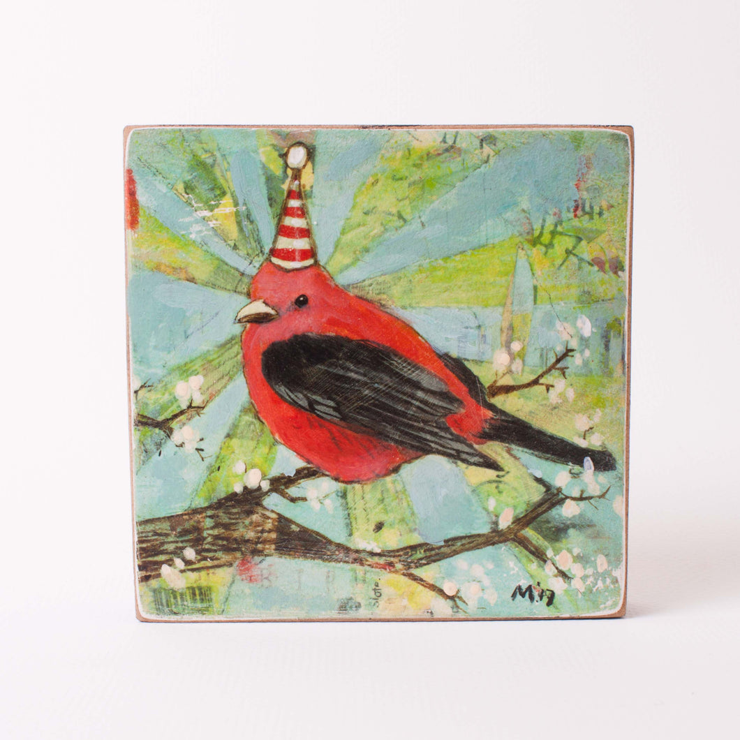 Red Bird w/ a Party Hat