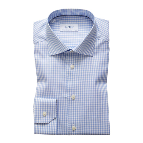 Contemporary Fit Sky Blue Gingham Cotton-Tencel Dress Shirt