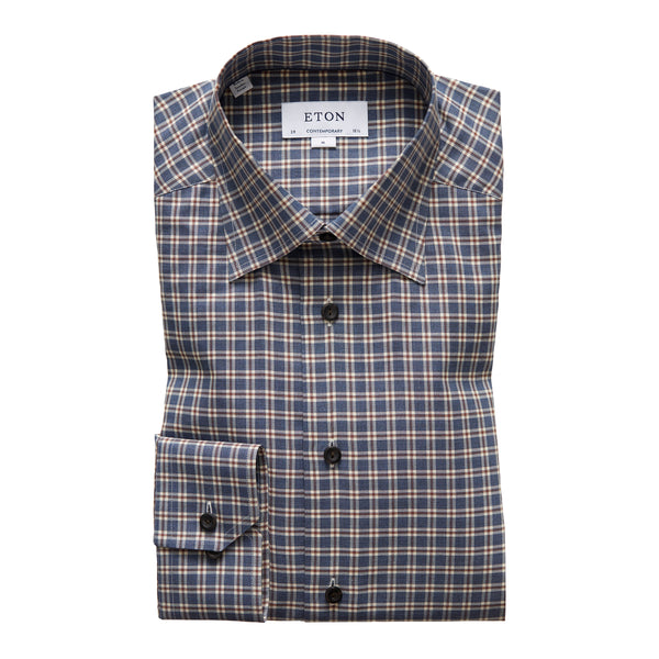 Contemporary Fit Navy Check Flannel Dress Shirt