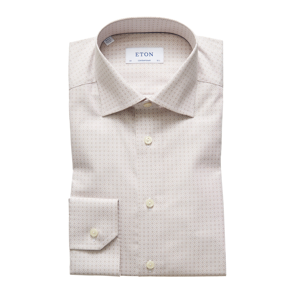 Contemporary Fit Beige Micro Print Dress Shirt