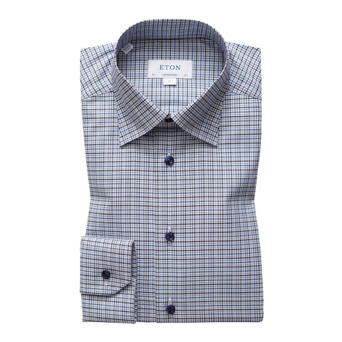 Contemporary Fit Blue Check Dress Shirt