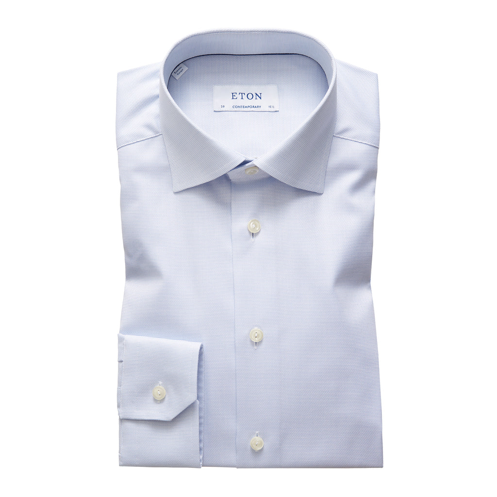 Contemporary Fit Blue Woven Dress Shirt