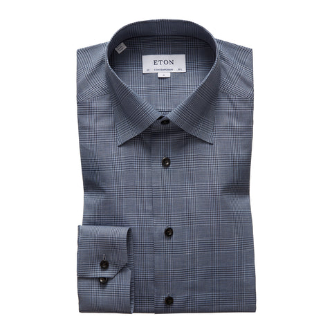 Contemporary Fit Blue Check Lightweight Flannel Dress Shirt