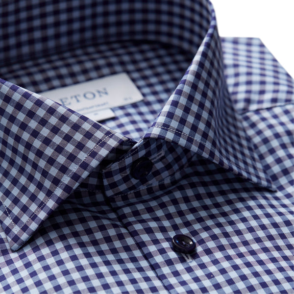 Contemporary Fit Navy Check Fine Twill Dress Shirt