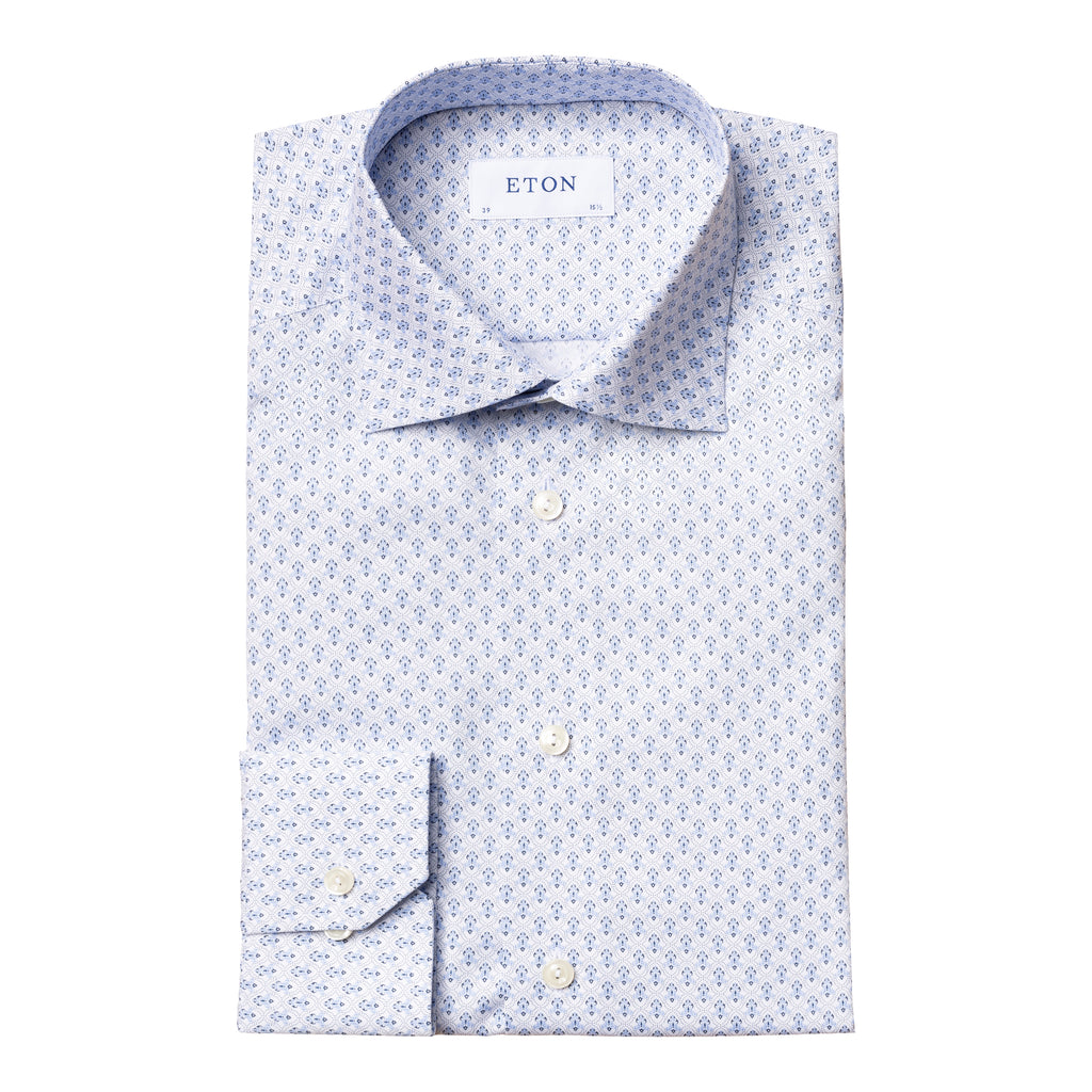 Contemporary Fit Blue Medallion Dress Shirt