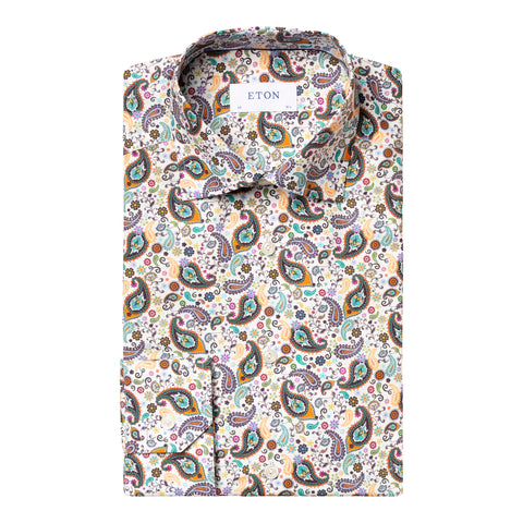 Contemporary Fit Multicolor Paisley Dress Shirt