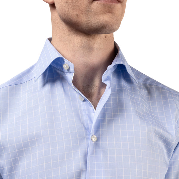 Contemporary Fit Blue & White Checked Dress Shirt