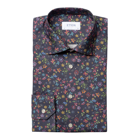 Contemporary Fit Navy Floral Dress Shirt
