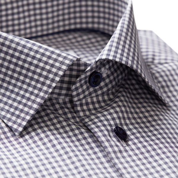 Contemporary Fit Navy Check Dress Shirt W/ Embroidery