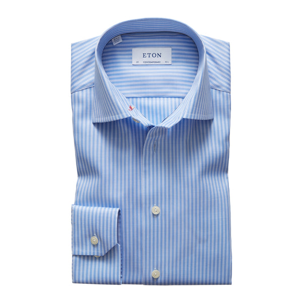Contemporary Fit Blue Stripe Dress Shirt W/ Embroidery