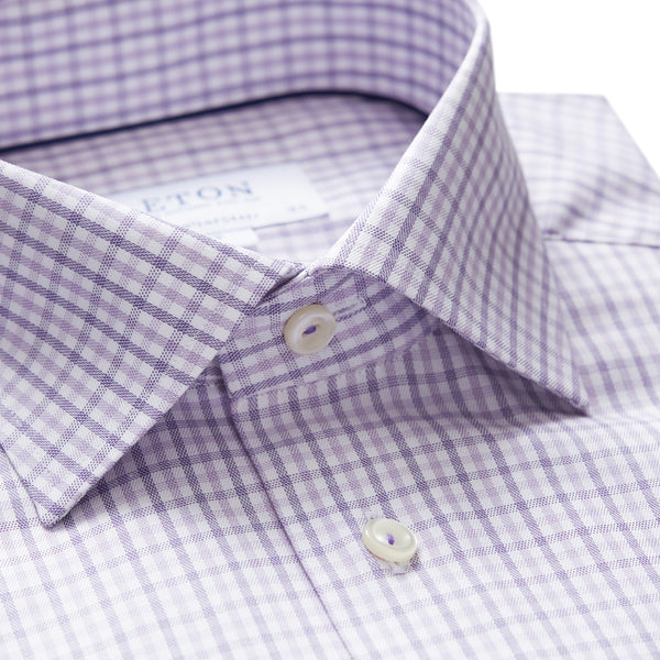Contemporary Fit Purple Check Dress Shirt